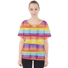 Background Line Rainbow V Neck Dolman Drape Top