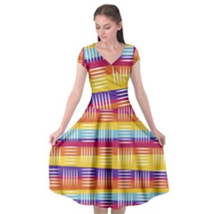 Background Line Rainbow Cap Sleeve Wrap Front Dress