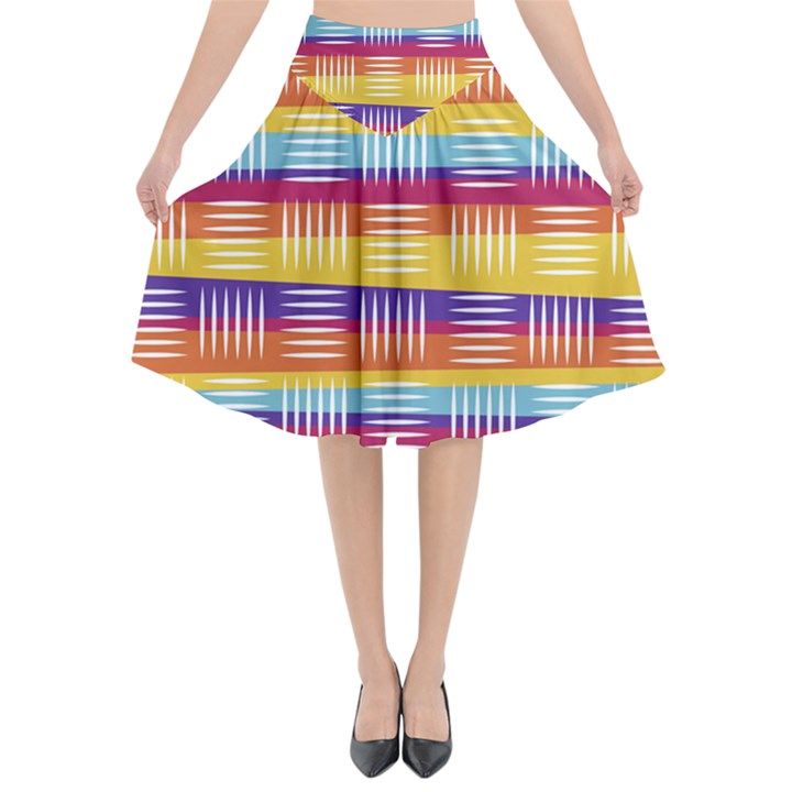 Background Line Rainbow Flared Midi Skirt