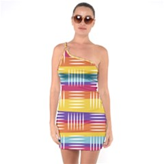Background Line Rainbow One Soulder Bodycon Dress