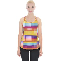 Background Line Rainbow Piece Up Tank Top
