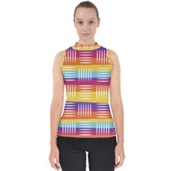 Background Line Rainbow Mock Neck Shell Top