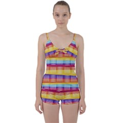 Background Line Rainbow Tie Front Two Piece Tankini