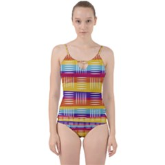 Background Line Rainbow Cut Out Top Tankini Set