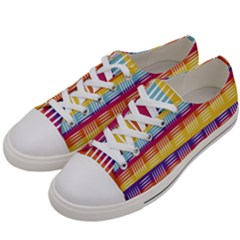Background Line Rainbow Women s Low Top Canvas Sneakers