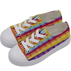 Background Line Rainbow Kids  Low Top Canvas Sneakers