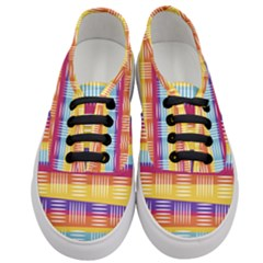 Background Line Rainbow Women s Classic Low Top Sneakers