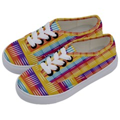 Background Line Rainbow Kids  Classic Low Top Sneakers