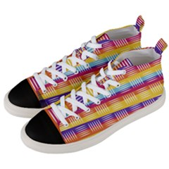 Background Line Rainbow Men s Mid-Top Canvas Sneakers
