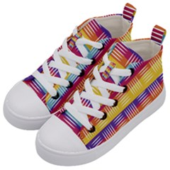 Background Line Rainbow Kids  Mid-Top Canvas Sneakers
