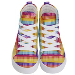 Background Line Rainbow Kids  Hi Top Skate Sneakers