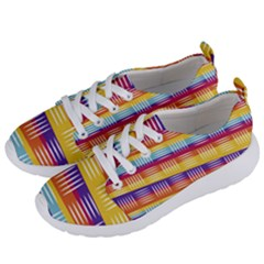 Background Line Rainbow Women s Lightweight Sports Shoes