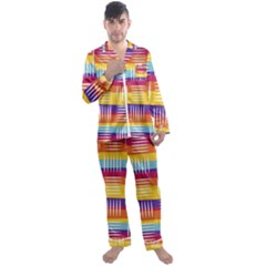 Background Line Rainbow Men s Satin Pajamas Long Pants Set