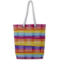 Background Line Rainbow Full Print Rope Handle Tote (Small)
