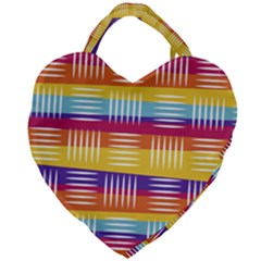 Background Line Rainbow Giant Heart Shaped Tote