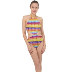 Background Line Rainbow Halter Side Cut Swimsuit