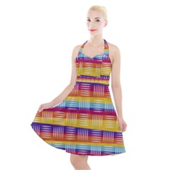 Background Line Rainbow Halter Party Swing Dress