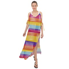 Background Line Rainbow Maxi Chiffon Cover Up Dress