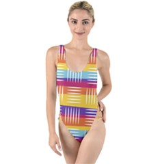 Background Line Rainbow High Leg Strappy Swimsuit