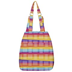 Background Line Rainbow Center Zip Backpack