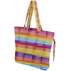 Background Line Rainbow Drawstring Tote Bag
