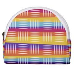 Background Line Rainbow Horseshoe Style Canvas Pouch