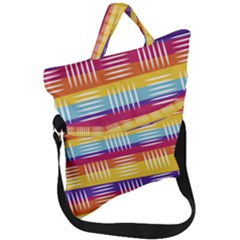 Background Line Rainbow Fold Over Handle Tote Bag