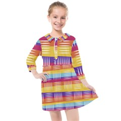 Background Line Rainbow Kids  Quarter Sleeve Shirt Dress