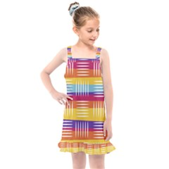 Background Line Rainbow Kids  Overall Dress