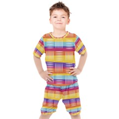 Background Line Rainbow Kids  Tee and Shorts Set