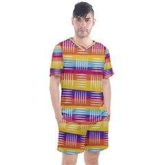 Background Line Rainbow Men s Mesh Tee and Shorts Set