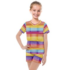 Background Line Rainbow Kids  Mesh Tee and Shorts Set