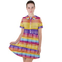 Background Line Rainbow Short Sleeve Shoulder Cut Out Dress