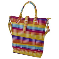 Background Line Rainbow Buckle Top Tote Bag