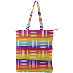 Background Line Rainbow Double Zip Up Tote Bag