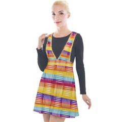 Background Line Rainbow Plunge Pinafore Velour Dress