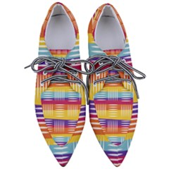 Background Line Rainbow Pointed Oxford Shoes