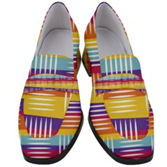 Background Line Rainbow Women s Chunky Heel Loafers