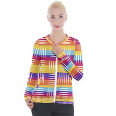 Background Line Rainbow Casual Zip Up Jacket