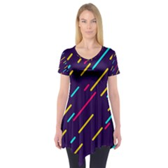 Background Lines Forms Short Sleeve Tunic