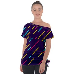 Background Lines Forms Tie Up Tee