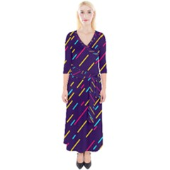Background Lines Forms Quarter Sleeve Wrap Maxi Dress by HermanTelo
