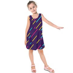 Background Lines Forms Kids  Sleeveless Dress