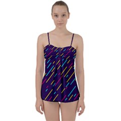 Background Lines Forms Babydoll Tankini Set