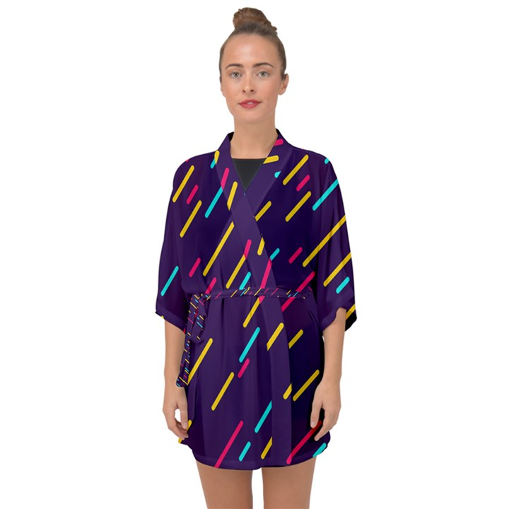 Background Lines Forms Half Sleeve Chiffon Kimono