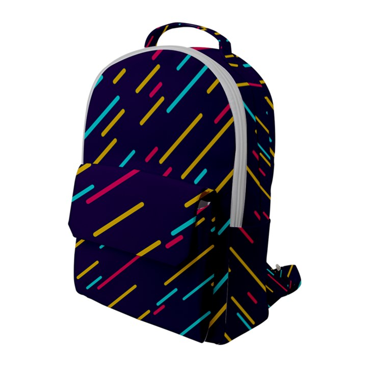 Background Lines Forms Flap Pocket Backpack (Large)