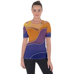 Autumn Waves Shoulder Cut Out Short Sleeve Top