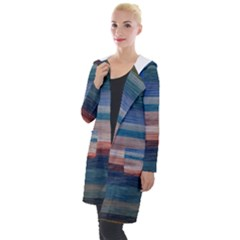 Background Horizontal Lines Hooded Pocket Cardigan
