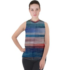 Background Horizontal Lines Mock Neck Chiffon Sleeveless Top by HermanTelo