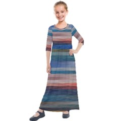 Background Horizontal Lines Kids  Quarter Sleeve Maxi Dress by HermanTelo